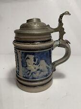 New listing 19th Century Antique German Beer Stein Salt Glazed Stoneware 7� H Marked P.W.