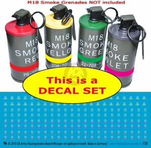 Peddinghaus 1/35 Markings for US M18 Colored Smoke Grenades (White) [DECAL] 3515