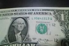 "ONE DOLLAR  BILL (fancy Serial Number) RAISED/STUCK DIGIT HIGH 3"" ERROR NOTE"