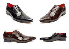 Zapatos para hombre marrón, brillante Puntiagudo Zapatos para niño, gángster, Fiesta Boda, (Fellini
