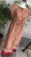 CLASSICS by JANTZEN Brown Red Floral Retro Sleeveless Polyester Dress Sz 10