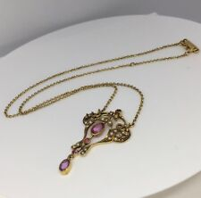 Antique Necklace Pink Topaz And Seed Pearl 9 Carat Yellow Gold Hallmarked
