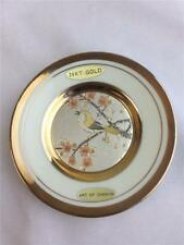 "*Art of Chokin 24K Gold Edge Collector Plate 4"" Decorative Bird Branches Flowers"