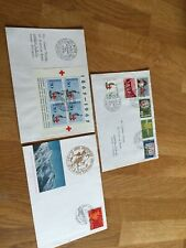 Switzerland 3 FDC covers incl red cross miniature sheet 1963