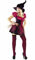RED/BLACK FUNKY WITCH LADIES HALLOWEEN FANCY DRESS OUTFIT COSTUME, SIZES: 8-18