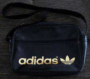 Adidas Umhängetasche Orig. Airliner Bag Vintage Schwarz Gold Retro Sporttasche