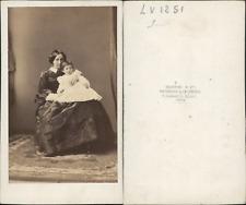 Disdéri, Paris, mère et enfant Vintage CDV albumen carte de visite CDV,