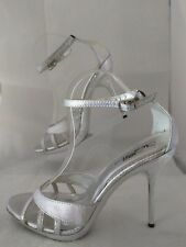 Wild Rose Saxon 11 Women's Silver Animal Skin Open Toe Ankle Straps Stilettos 10