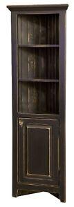 "Solid Wood - 29"" Primitive Corner Cabinet Farmhouse Cottage Cupboard Distressed"