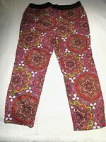 Marks & Spencer Pink Red Print Straight Leg Stretch Pant Size UK 14 Fit AU 12 14