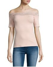 Juniors Decree Lace Trim Bodycon Top Shirt Pink Extra Small XS NWT