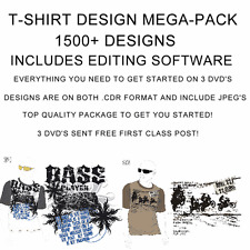 1500+ T-Shirt designs for you to print! Top quality package. 3 dvd's