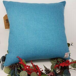 BLUE Teal WOOL Plain Tweed Cushion Cover genuine handmade Harris Tweed
