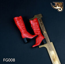 """Fire Girl Toys 1/6 Scale High Boots Female High Heels Red For 12"""" Female Feet"""