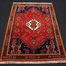Orient Teppich Rot 164 x 122 cm Blau Perserteppich Handgeknüpft Carpet Rug Tapis