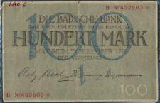 Baden Rosenbg: BAD6 Länderbanknote Badische Banco usado (III) 1918 100 m(8087409