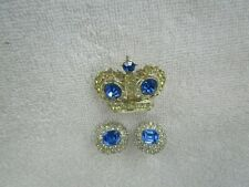 + Cz ] Classic Brooch+Matching Earrings Vintage Silver Plated [ Blue Sapphire