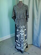 New listing Vintage 70s Evening 2 pc top with long skirt, Silver/Black with seed beading.