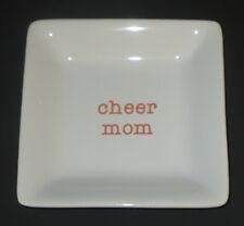 Cheer Mom Keepsake Dish Trinket Holder Ceramic White Orange New