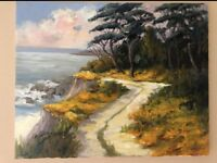 EVA SZORC Seascape Painting Original Oil On Canvas Path Leading To Ocean