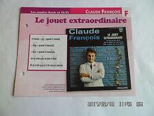 CARTE FICHE PLAISIR DE CHANTER CLAUDE FRANCOIS LE JOUET EXTRAORDINAIRE