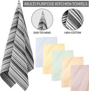 Multi Pack 100%Cotton Tea Towels Kitchen Glass Dry Dish Cloths With Hanging Loop