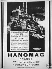 PUBLICITÉ TRACTEUR HANOMAG FRANCE DIESEL AGRICOLE ET ROUTIER MOTEURS INDUSTRIELS
