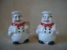 """CHARMING 3"""" Glazed Ceramic """"Chef"""" Salt & Pepper Shaker Set, Model #V-62008, NEW"""