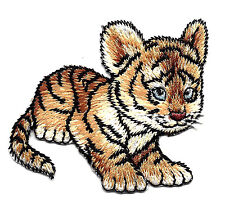 BABY TIGER CUB Iron On Patch Jungle Zoo Tigers Wild Animals