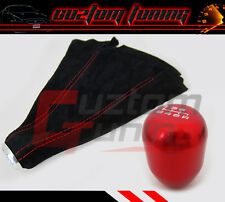 JDM CNC 6SPEED ALUMINUM FOR HONDA ACURA RSX SHIFT KNOB RED SUEDE STITCH W/ BOOT