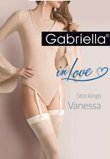 Gabriella Calze Vanessa Hold Ups Lycra Tights Stockings Bianco Size XS S M L