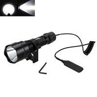 Tactical 5000LM T6 WHITE LED Hunting Flashlight Gun Lamp +Rail Mount 18650 Light