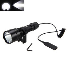 Tactical 5000LM T6 WHITE LED Flashlight Torch Lamp Gun Scope Mount Remote Switch