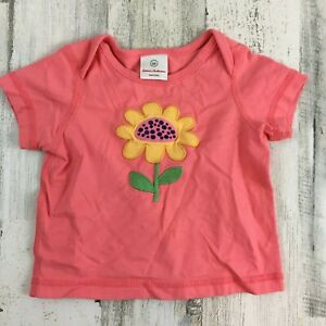 Hanna Andersson Pink Appliqué Flower Top T Shirt Baby Girls Sz 60 3 to 6 M