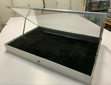 New ListingPortable Aluminum Glass Jewelry Display Case Silver Showcase • Used