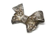 A Superb Antique Art Deco Sterling Silver 925 Filigree Ribbon Brooch #26050