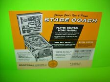 Stage Coach Pinball FLYER Original Chicago Coin Promo Game Artwork Sheet 1968