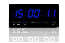 LED  wanduhr Digitaluhr digital Wohnzimmer Küchenuhr beleuchtung 4622 in Blau