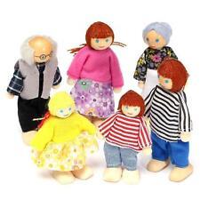 6 Wooden Dolls Pretend Play Set Dolls Family For Children Kids Figure Toy Gift