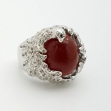 New 925 Sterling Silver Oval Red Carnelian White Topaz Peacock Wrap Ring Size 7