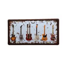 Novelty Tin Wall Sign 6 Guitars Art Work Great for Man Cave,Bar Garage Decor