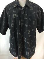 Pierre Cardin shirt mens size 2XL Hawaiian palm tree black tan 1 pocket cotton