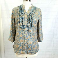 Soft Surroundings S Tunic Top Brown Blue Floral Ruffle Button 3/4 Sleeve #C