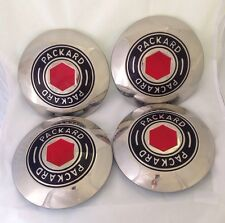 NEW Polished PACKARD Stainless Steel Wire Wheel Hub Center Grease Cap SET of 4