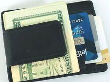 Mens Wallet Black Genuine Leather Magnetic Money Clip ID Case Credit Card Holder