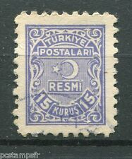 TURQUIE TURKIYE, 1949, timbre SERVICE 7, RESMI, oblitéré, VF cancelled stamp