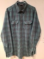 EDDIE BAUER Mens Tall L Long Sleeve Button Up Flannel Shirt Green Plaid LT