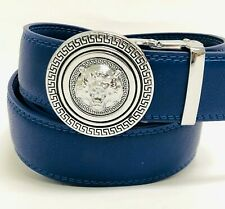 Men Leather Jeans Automatic Waistband Click Lock Blue Slide Buckle Belt New