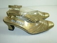 WOMENS GOLD CLEAR SPARKLE VINTAGE SANDALS PUMPS SLINGBACK HEELS SHOES SIZE 8 M