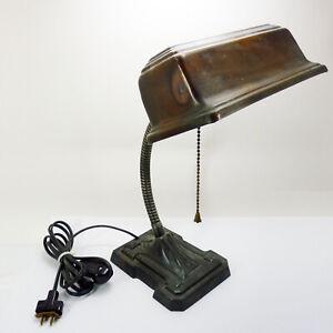 Vintage Art Deco Cast Iron Flexible Goose Neck Desk Lamp Machine Age